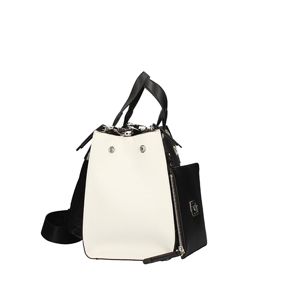 Borsa M Double zip Satchel black white - LIU JO