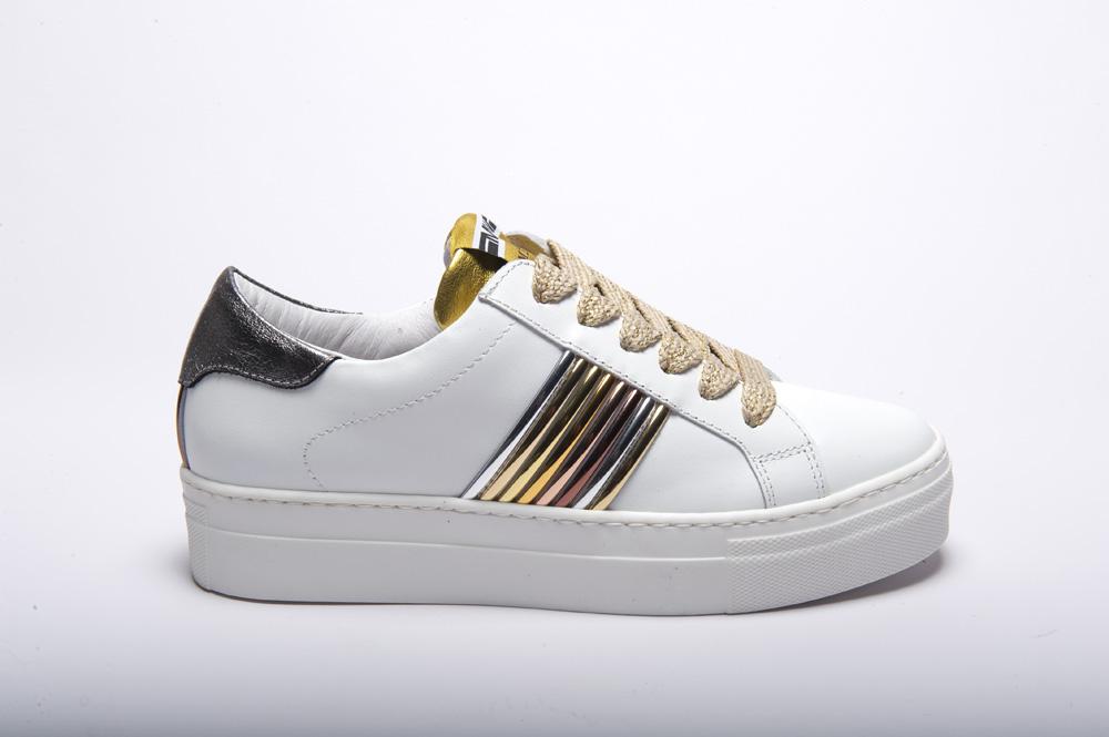Meline galaxi bianco.velam.oro giallo - Sneakers pelle bianca lacci oro gomma alta riporti argento oro e bronzo