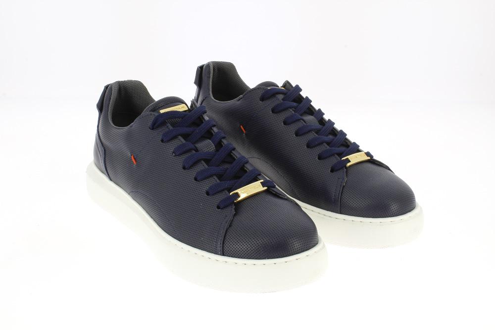 Ambitious -Sneakers tempo libero in pelle blu traforata fondo bianco