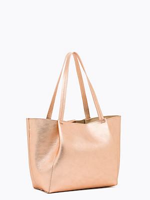 Borsa shopping media in pelle  oro rosa - PATRIZIA PEPE