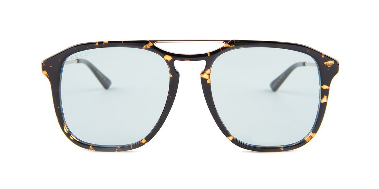 Gucci - Occhiale da Sole Uomo, Havana Gold Green/Blue Shaded  GG0321S  004  C55