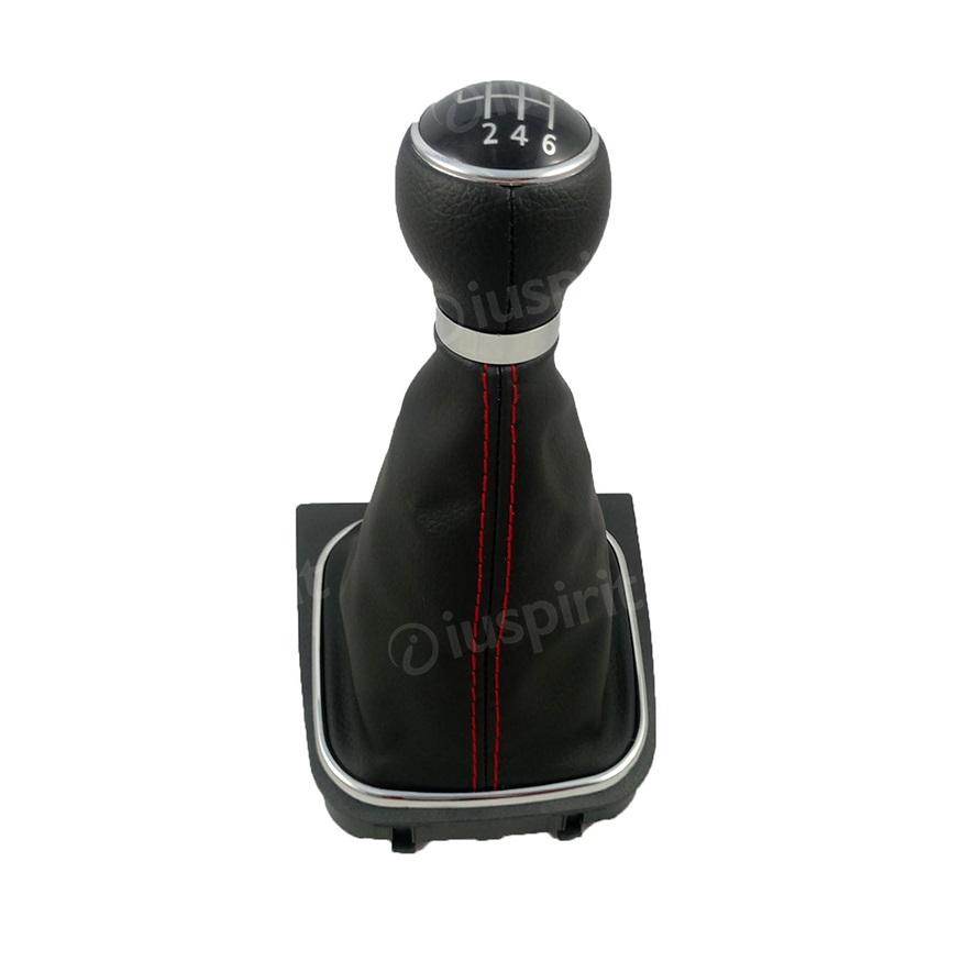 Pomello cambio 6 marce per VW Golf 5, Golf 6 Jetta Scirocco cuffia vera pelle leva cambio 6 marce cuciture rosse