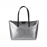 Shopper metallizzata silver con borchie - GUM DESIGN