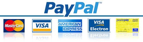 Pagamenti con le principali Carte di Credito, PayPal e Bonifico