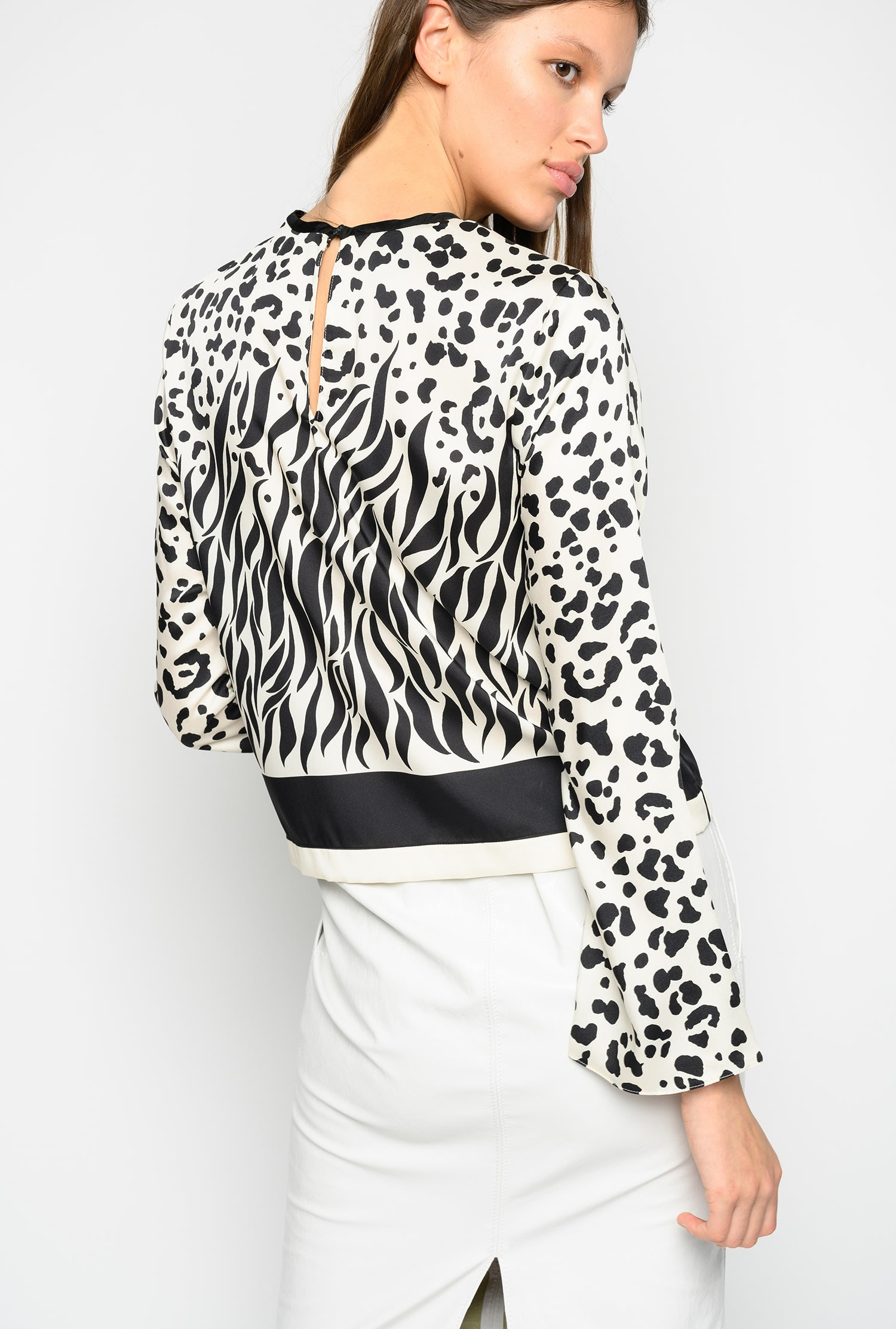 Blusa in twill a stampa mix animalier Pinko