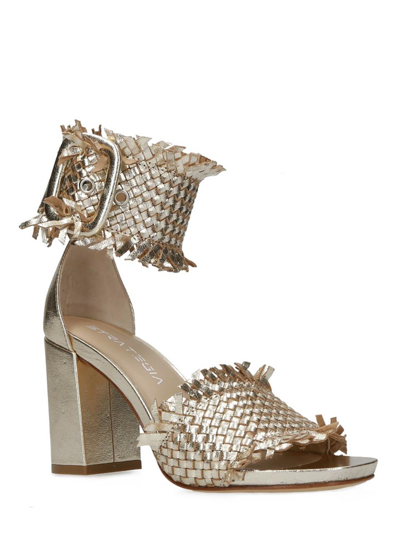Sandali pelle intrecciata platino - STRATEGIA