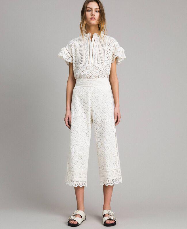 Pantaloni cropped cotone bianchi - TWIN SET
