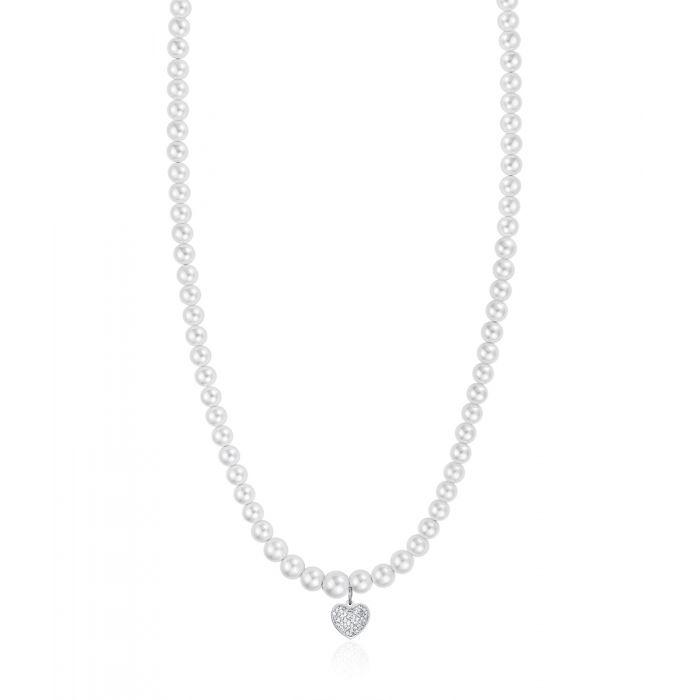 Luca Barra - Collana Con Perle Bianche E Cuore Con Cristalli