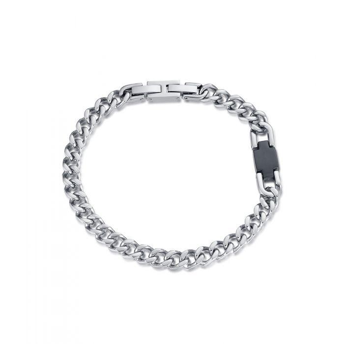 Luca Barra - bracciale uomo acciaio con elemento nero