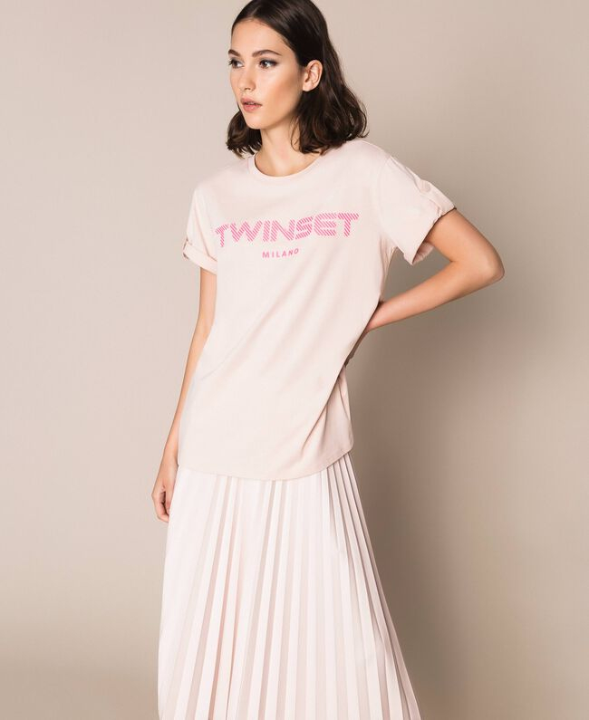 SHOPPING ON LINE TWINSET MILANO T-SHIRT CON LOGO IN RILIEVO NEW COLLECTION WOMEN'S SPRING SUMMER 2020