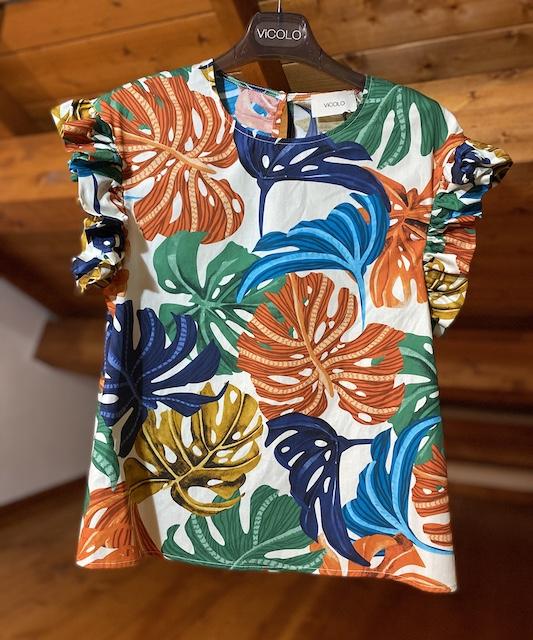 Tshirt Vicolo con Volant fantasia Fantasia floreale