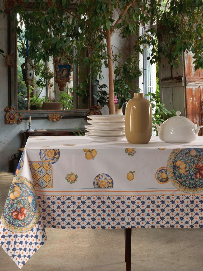 Tovaglia in Cotone 100% NATURALE, Design Elegante con Decorazione della Tavola da Pranzo   AMALFI
