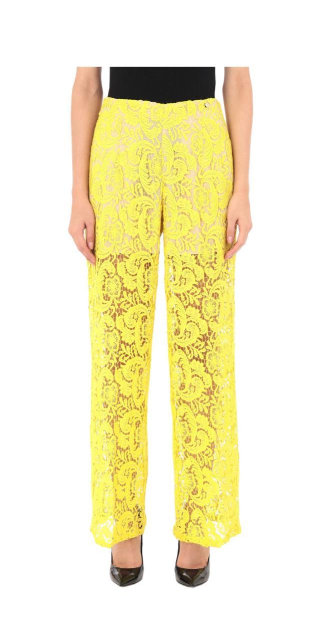 Pantalone palazzo in pizzo giallo fluo - TWIN SET