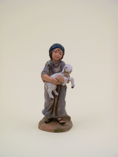 Bimbo con pecora in braccio cm. 12