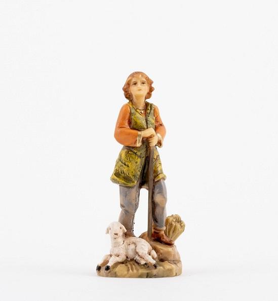 Pastore con bastone e agnello cm 9,5