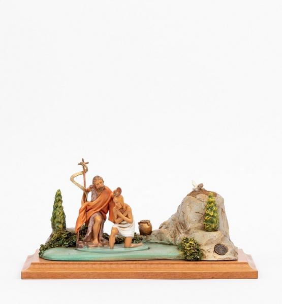 Scena battesimo di Gesù con personaggi cm. 12