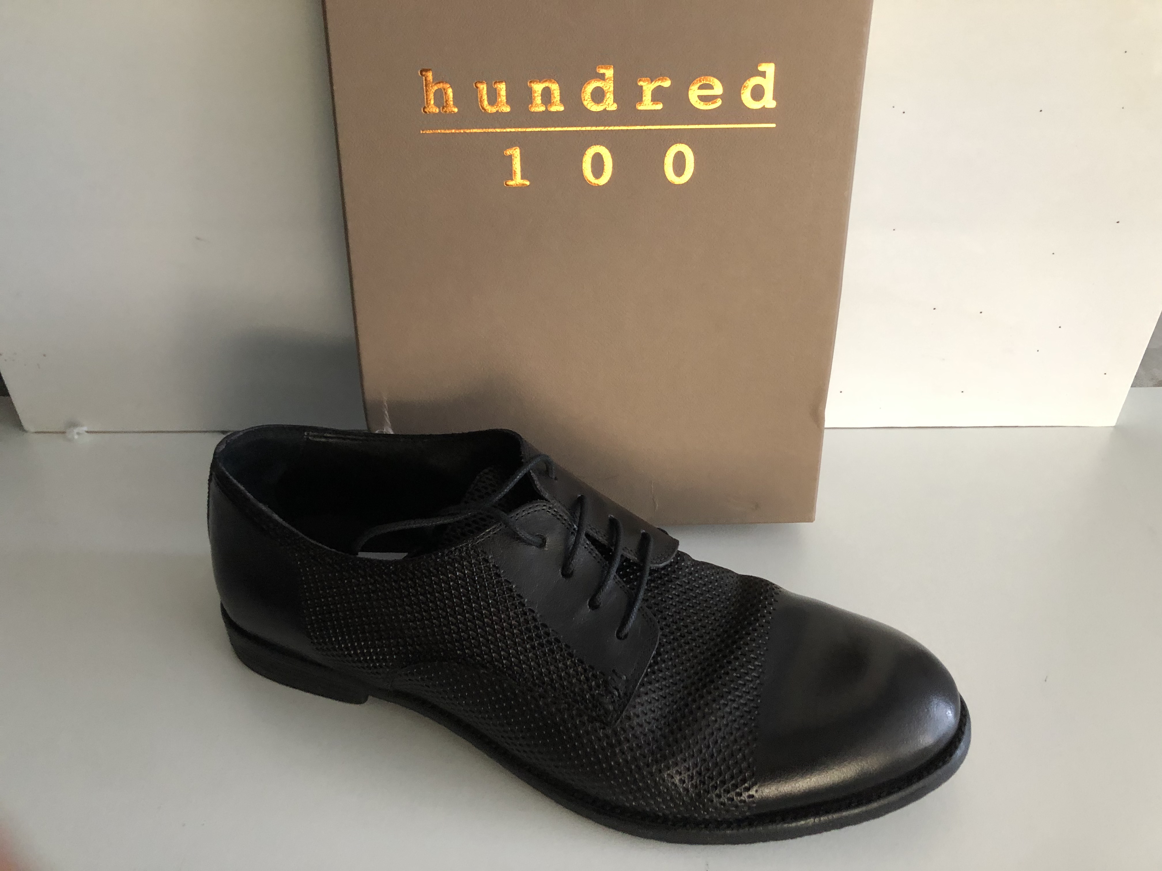 Hundred 100 Scarpa Uomo Stringata Derby tuffato Nero M283-70