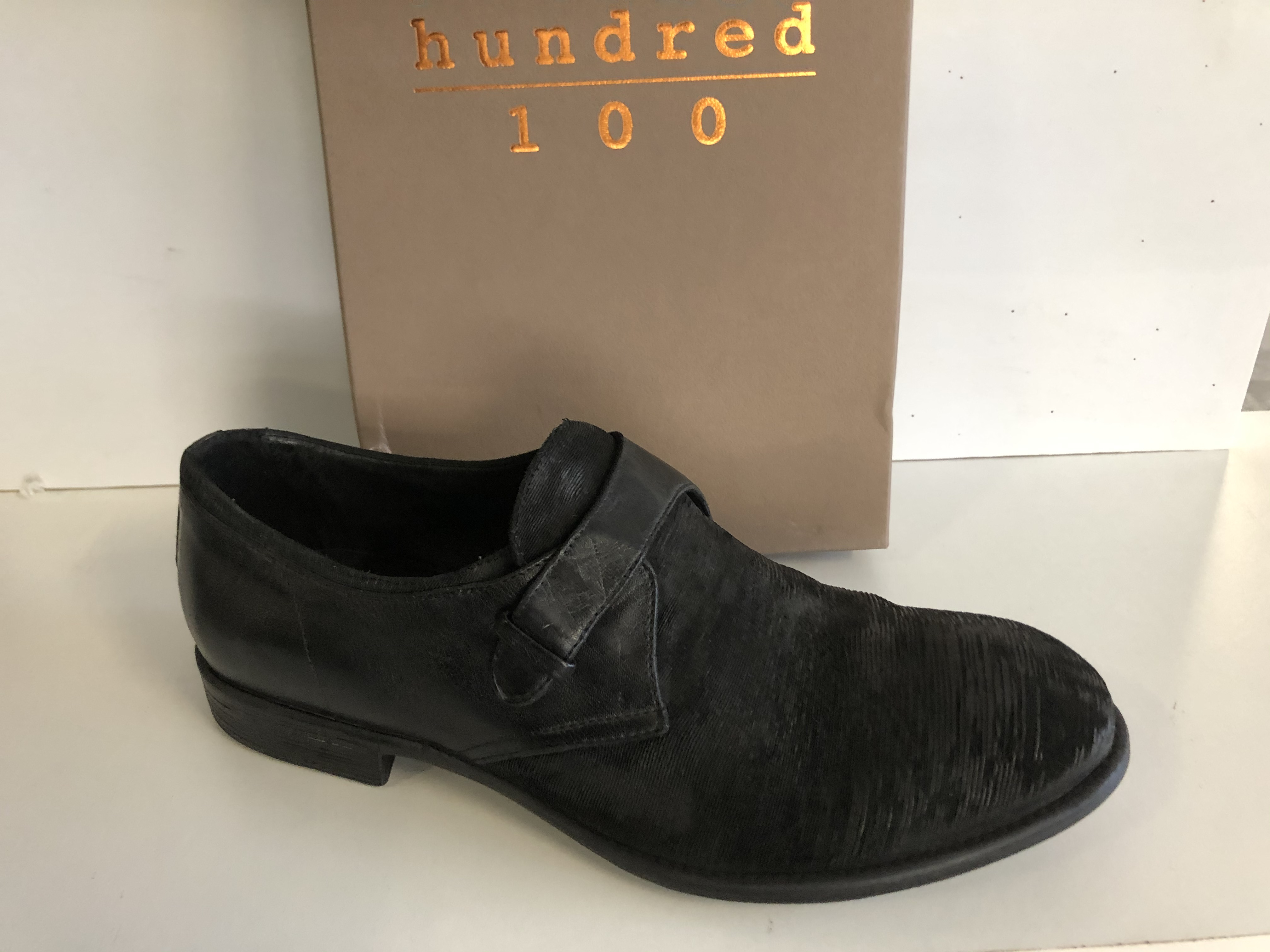 Hundred 100 Scarpa Uomo Derby Monk Strap Boleto T.Capo/Nero M087-18