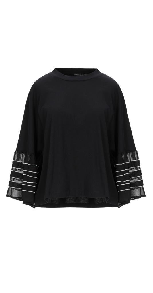 maglia nera maniche con volant - ANNARITA N