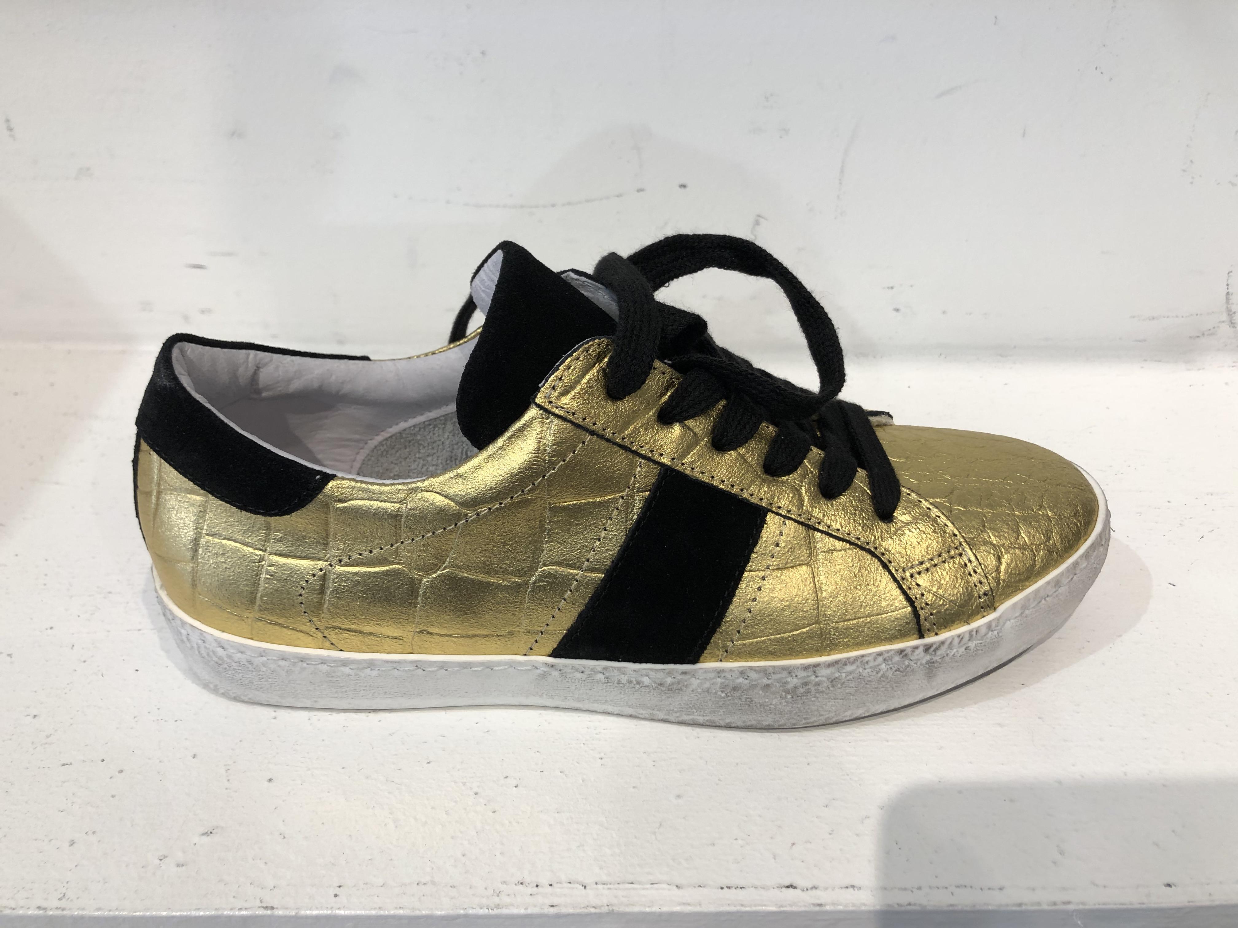 @go Scarpa Donna Sneakers Velour/Cocco Oro/Nero KUC1329