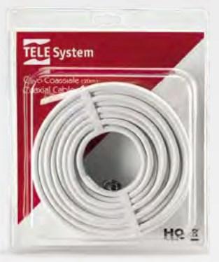TELE System 58040006 cavo coassiale 20 m F Bianco