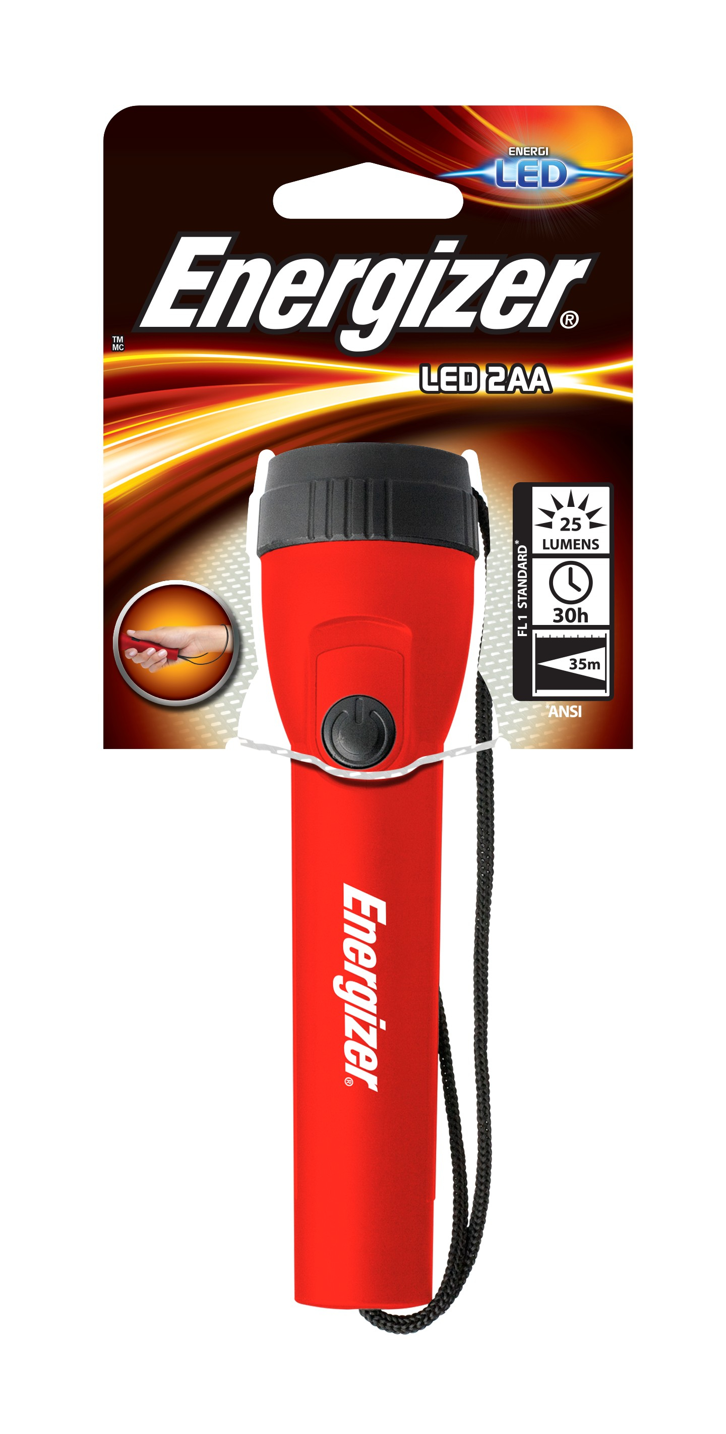 Energizer Light 2AA Torcia a mano Rosso LED