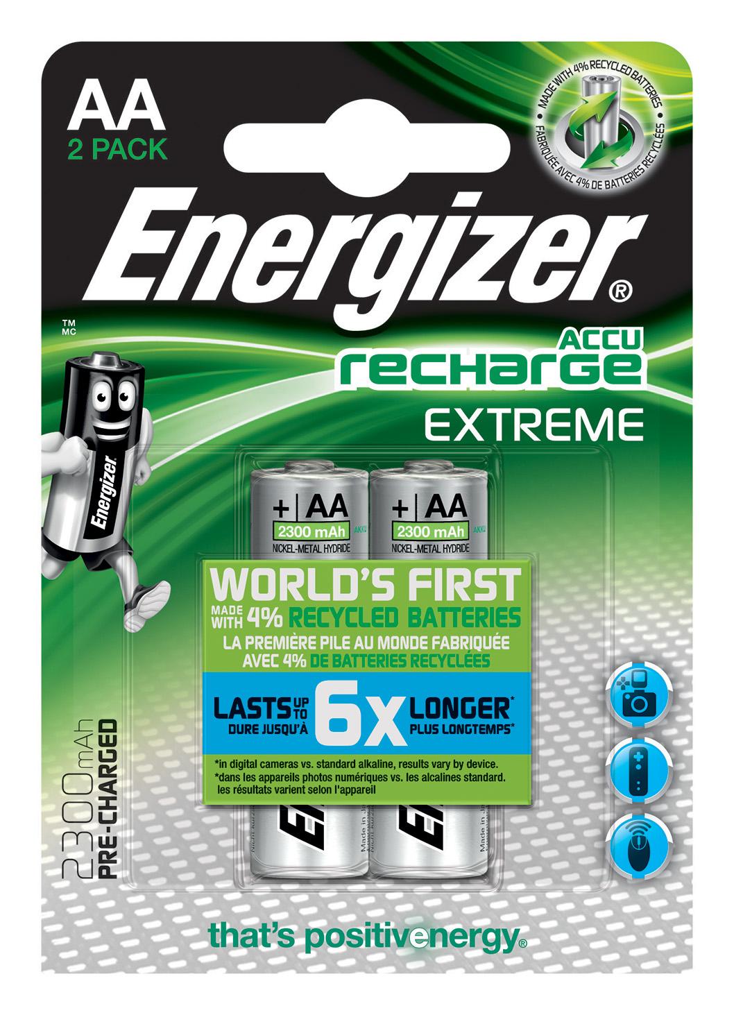 Energizer Accu Recharge Extreme 2300 AA BP2 Batteria ricaricabile Stilo AA Nichel-Metallo Idruro (NiMH)