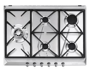 Smeg SRV575GH5 piano cottura Acciaio inossidabile Incorporato Gas 5 Fornello(i)