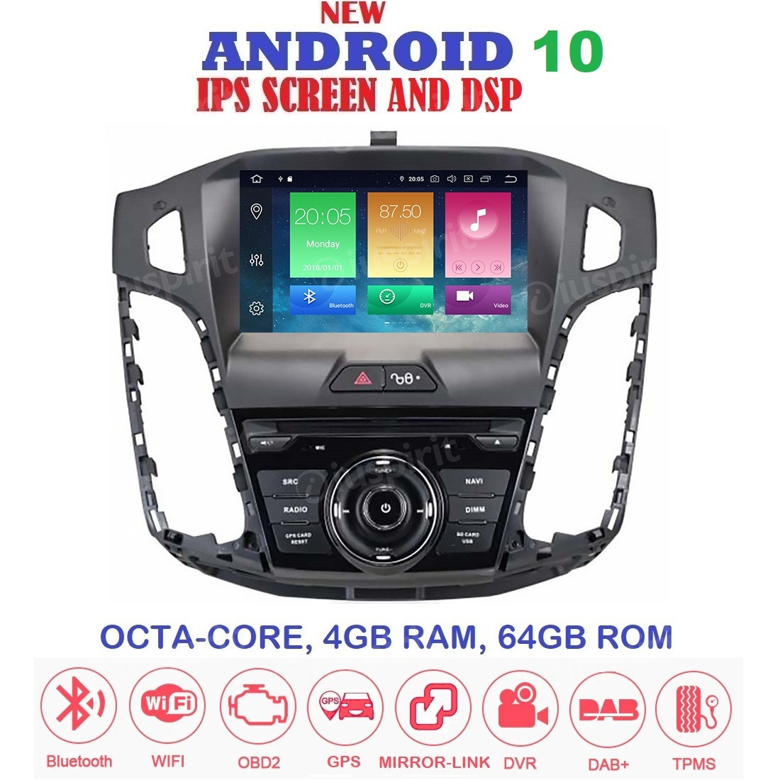 ANDROID 10 autoradio navigatore per Ford Focus 2011-2015 GPS DVD WI-FI Bluetooth MirrorLink