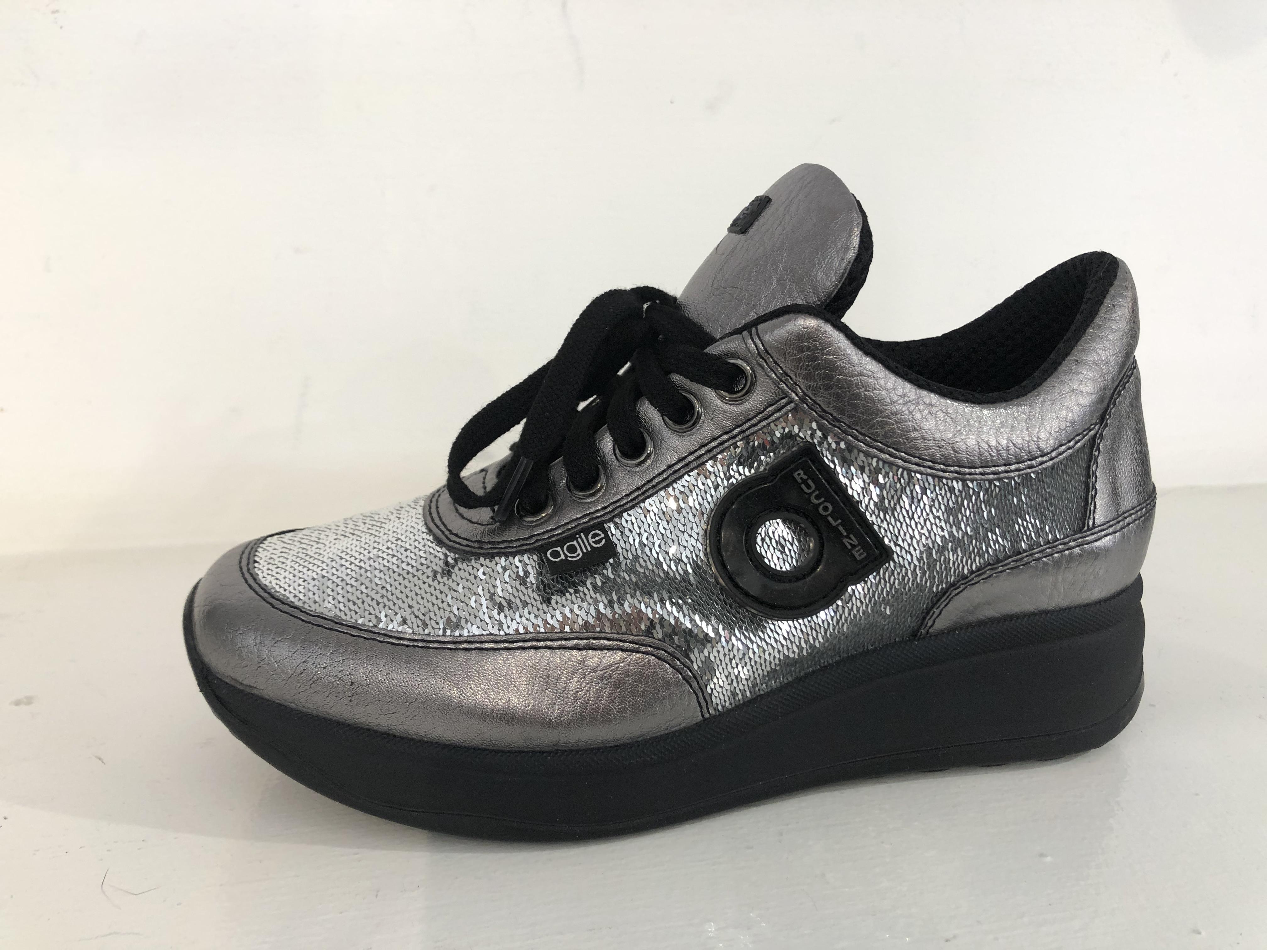 Ruco Line Scarpa Donna Sneakers Tarsia Star Acciaio 1304