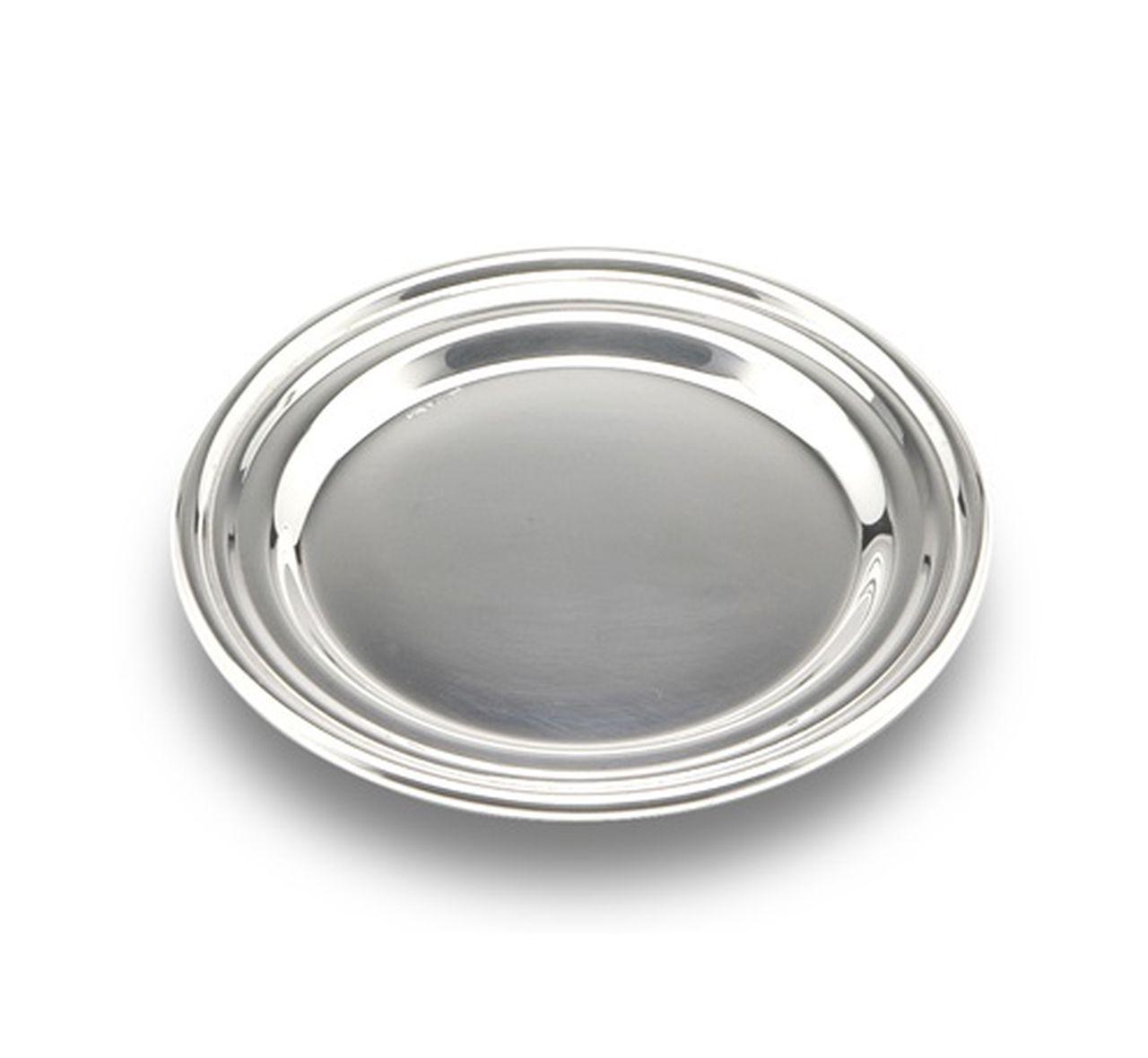 Sottobicchiere in metallo placcato argento stile Inglese cm.0,5h diam.11
