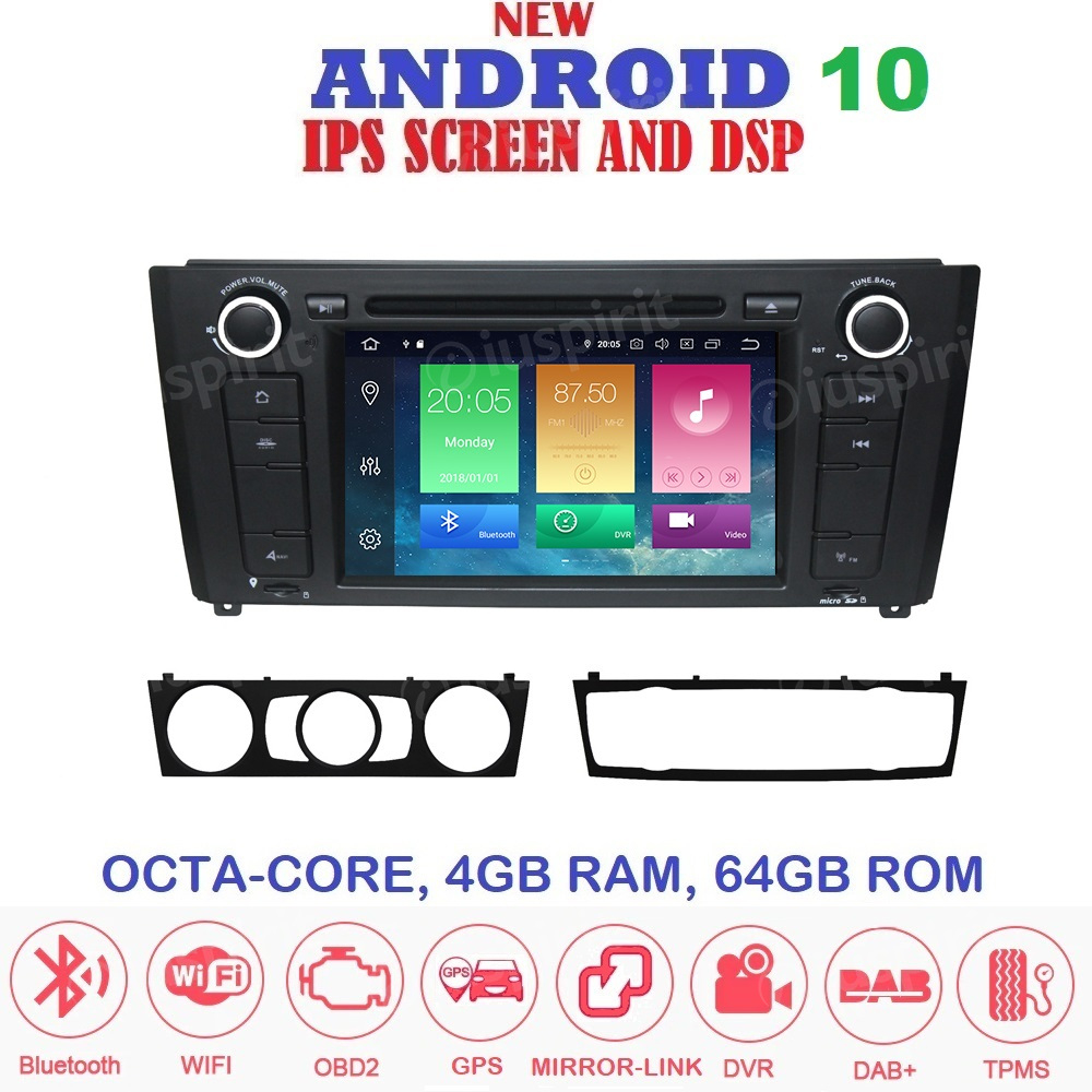 ANDROID 10 autoradio navigatore per BMW serie 1, BMW E81, BMW E82, BMW E88 GPS DVD WI-FI Bluetooth MirrorLink
