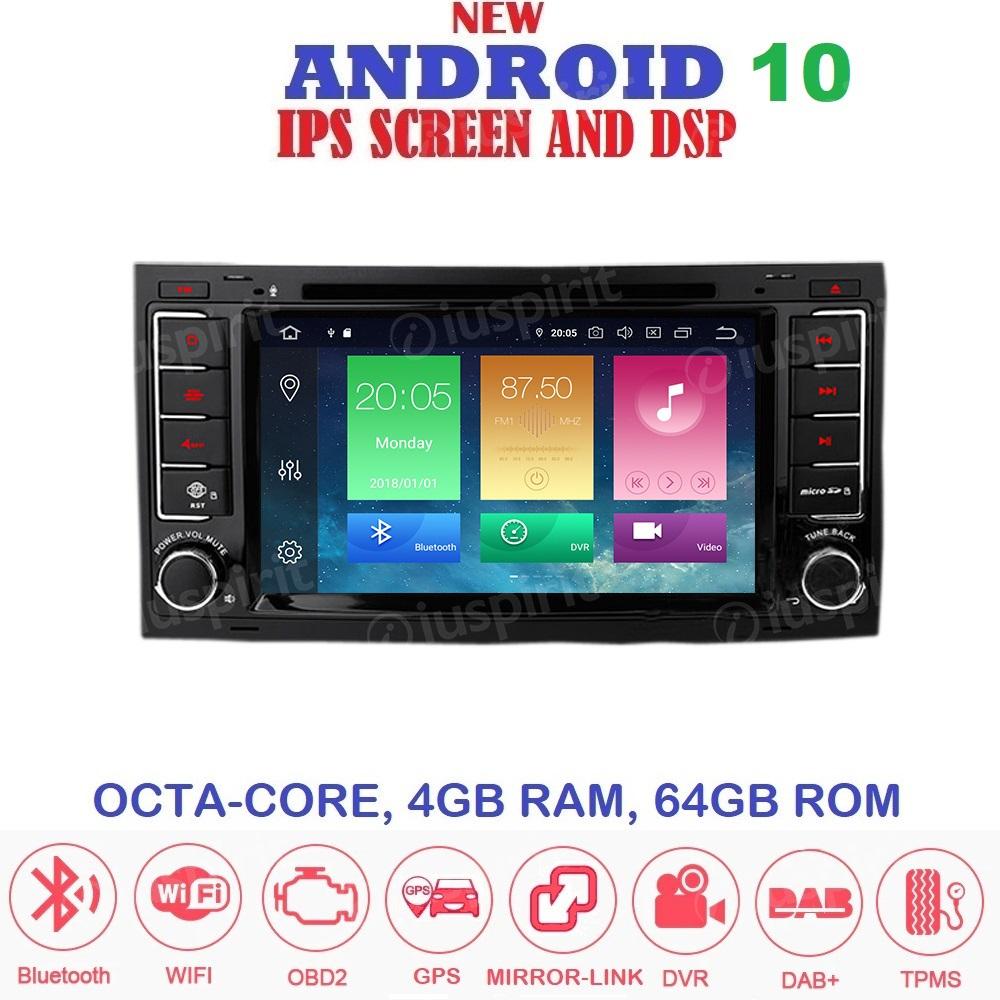 ANDROID 10 autoradio 2 DIN navigatore per Volkswagen Touareg, T5 Multivan Trasporter GPS DVD WI-FI Bluetooth MirrorLink
