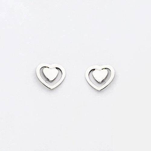 By Simon - Orecchini in argento a forma di cuore, art: 1101566