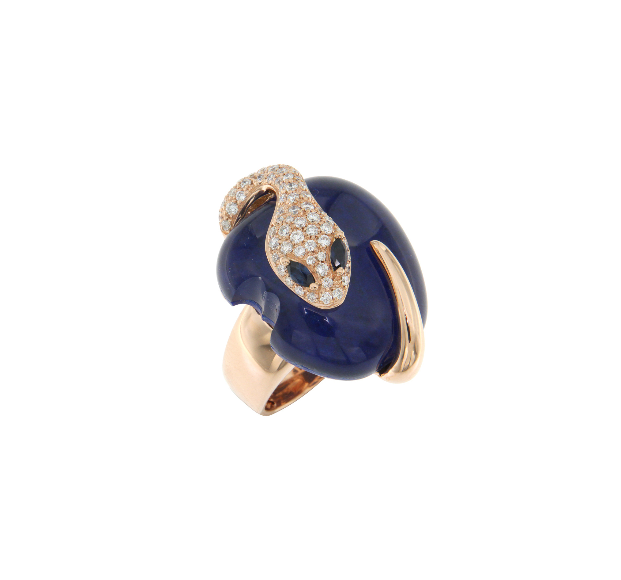Anello in oro rosa, diamanti, lapis e zaffiri
