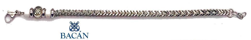 Elegante bracciale da uomo in maglia di acciaio e pietre natrurali color celeste o bianche