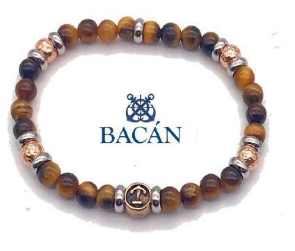 Bracciale elastico da uomo con perle in acciaio e pietre naturali colorate