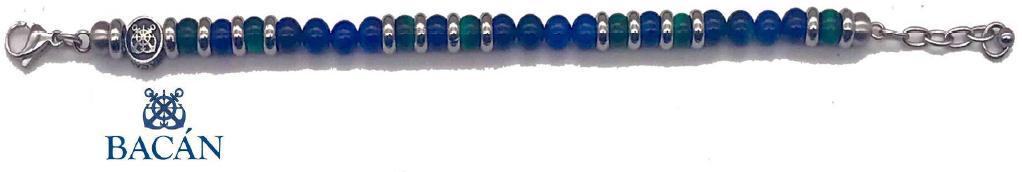 Elegante bracciale da uomo composto da una catena in acciaio con perle in pietra naturale