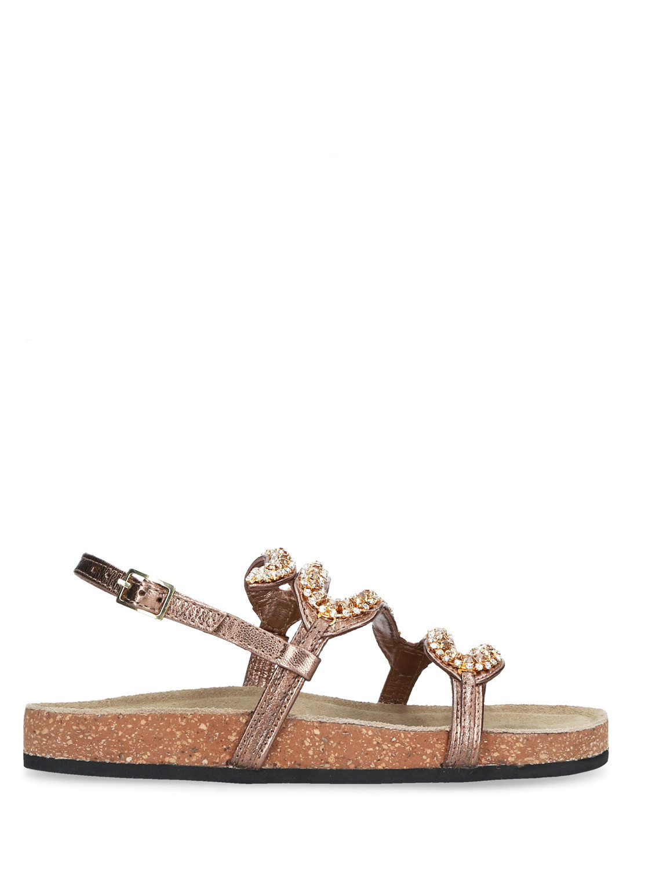 Sandalo pelle bronzo fondo sughero STRATEGIA