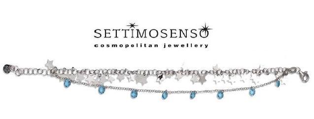 Bracciale in argento  con pietre naturali azzurre e ciondoli a  stella