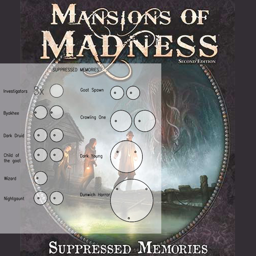 Mansions of Madness 2nd Ed. Suppressed Memories Clear Bases (x23)