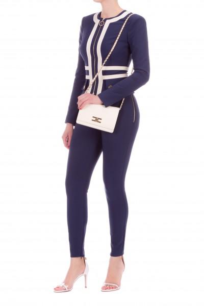 Pantalone Elisabetta Franchi a Vita Alta Blu con Bottoni PA04601E2 Y79BLU NAVY/BURRO  -19