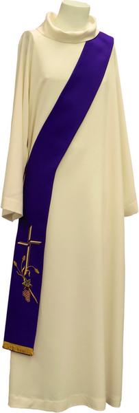 Stola diaconale ricamo croce spiga e uva
