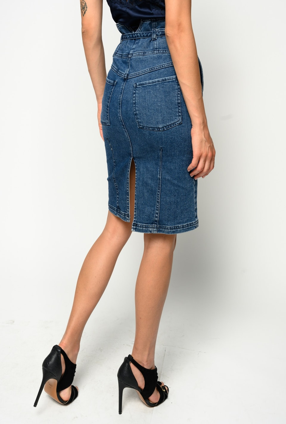 Gonna longuette bustier in comfort denim Pinko