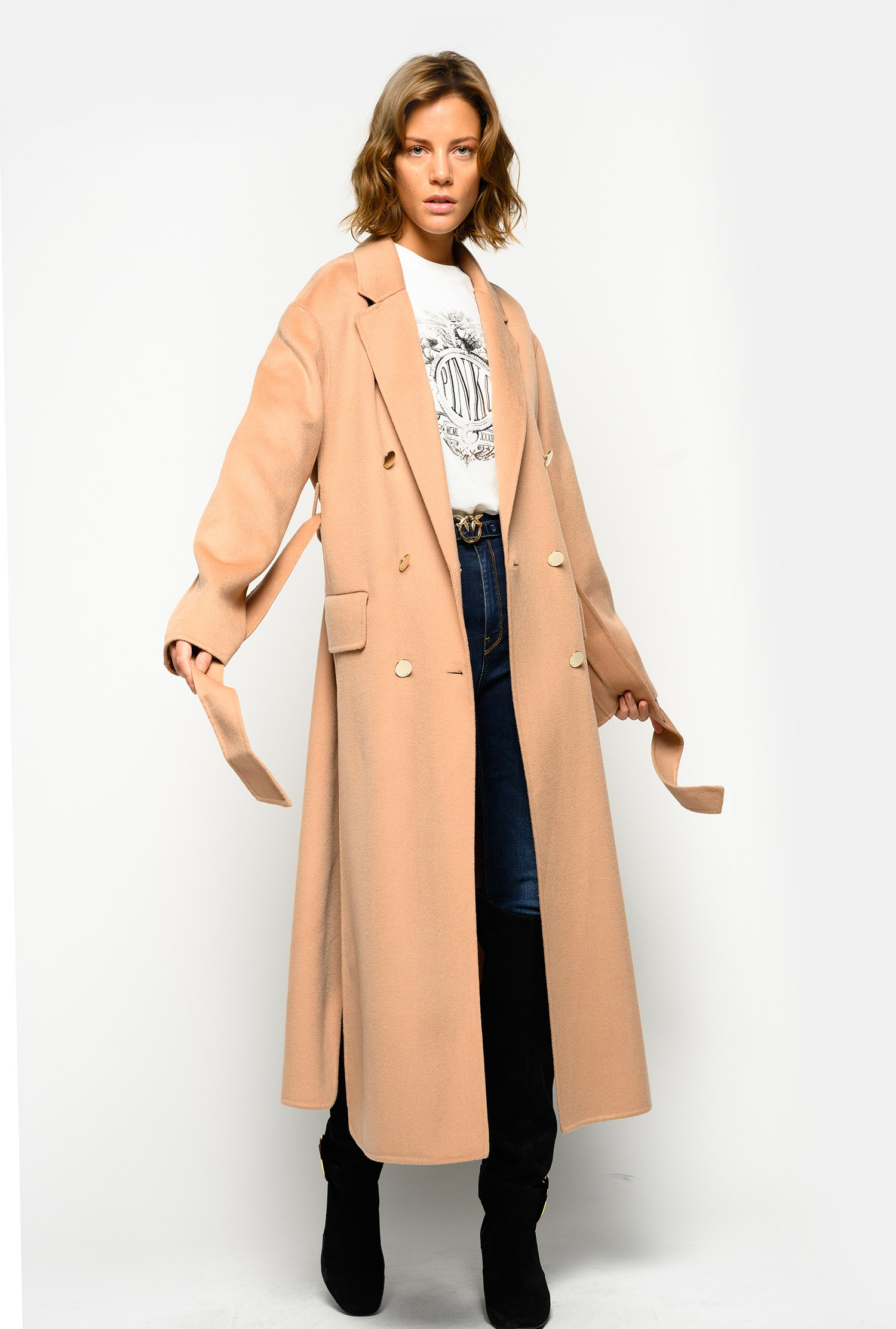 SHOPPING ON LINE PINKO CAPPOTTO LUNGO IN PANNO DOUBLE GIACOMO NEW COLLECTION WOMEN'S FALL WINTER 2020/21