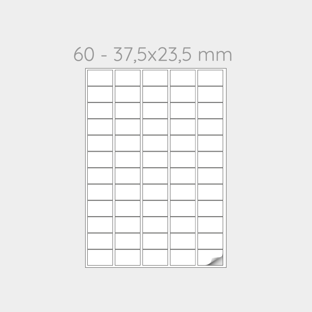 FOGLIO A4 PER STAMPANTI LASER SUDDIVISO IN 60 ETICHETTE 37,5x23,5 mm -1000 FOGLI