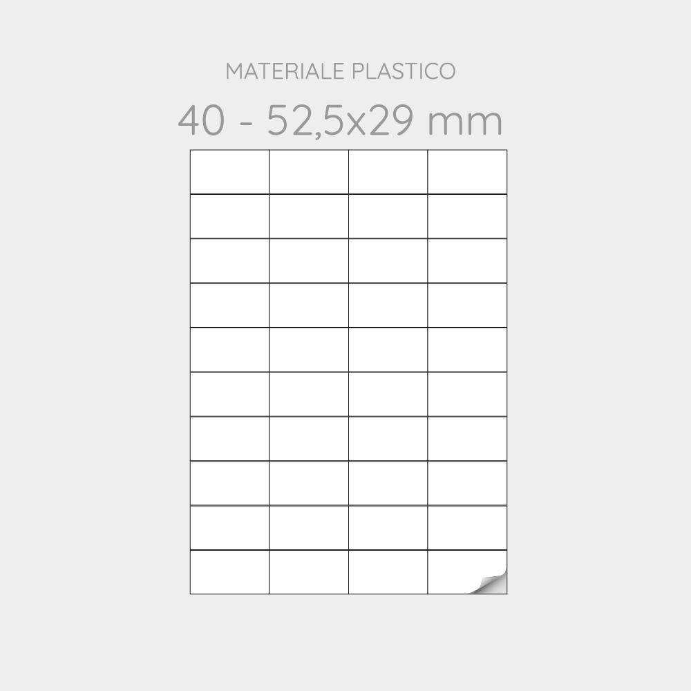 FOGLIO A4 PER STAMPANTI LASER SUDDIVISO IN 40 ETICHETTE  52,5x29 mm IN PP -1000 FOGLI