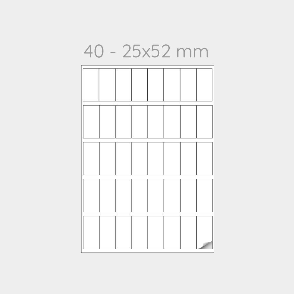 FOGLIO A4 PER STAMPANTI LASER SUDDIVISO IN 40 ETICHETTE  25x52 mm -1000 FOGLI