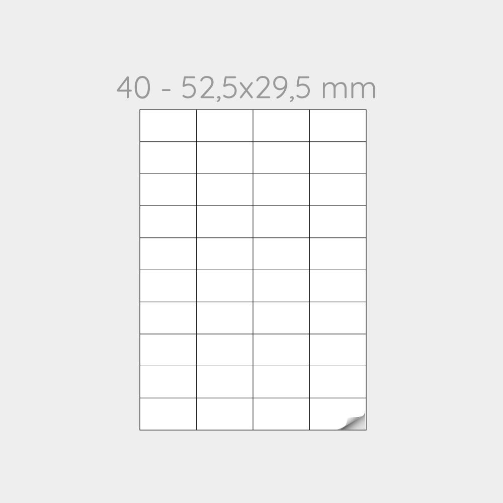 FOGLIO A4 PER STAMPANTI LASER SUDDIVISO IN 40 ETICHETTE  52,5x29,5 mm -1000 FOGLI