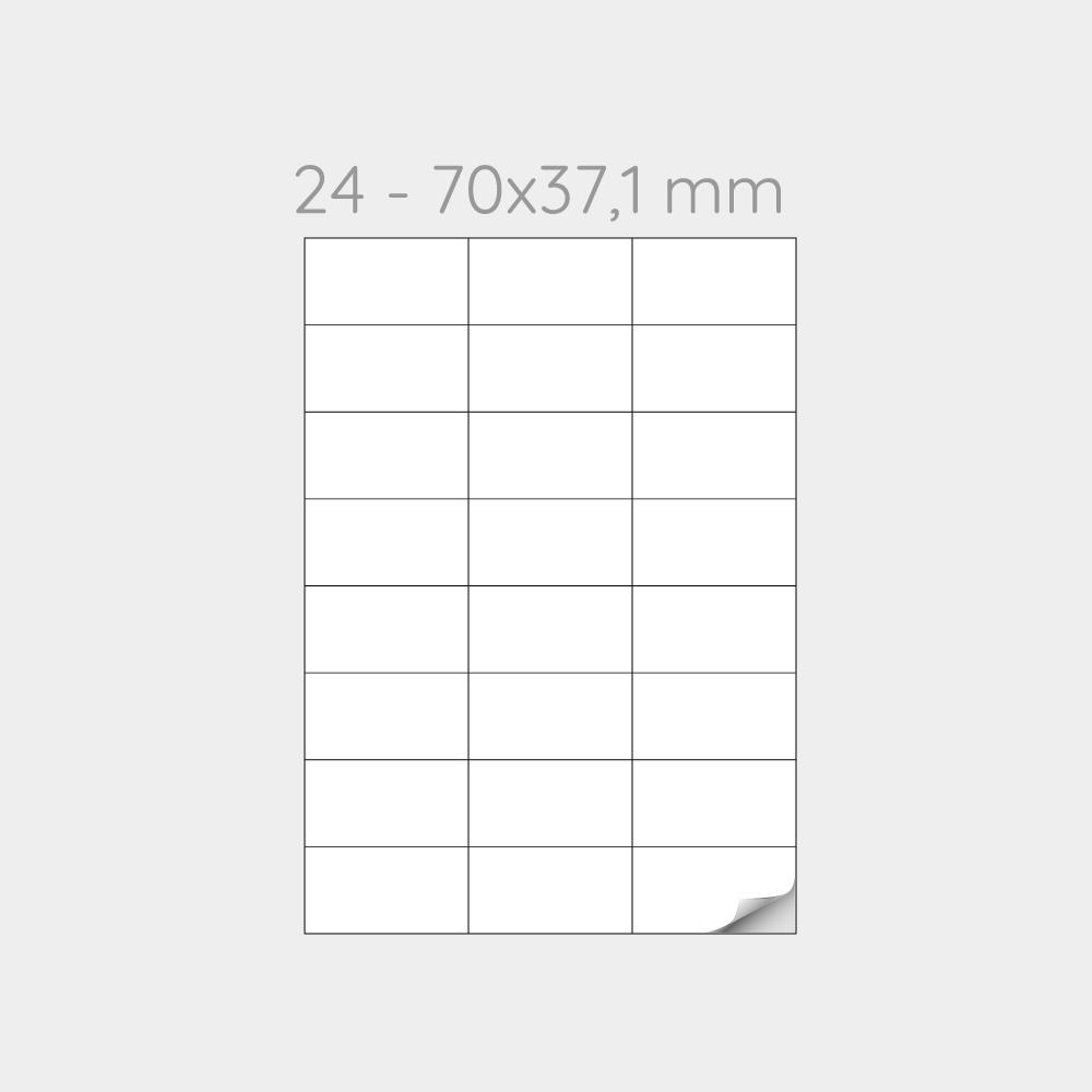 FOGLIO A4 PER STAMPANTI LASER SUDDIVISO IN 24 ETICHETTE 70x37,1 mm -1000 FOGLI